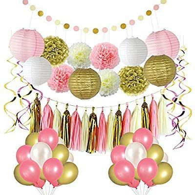 Paper Garland Circle Dots Hanging Decorations for Birthday Party Supplies LITAUS Black and Gold Birthday Party Decorations Tissue Pom Poms Paper Lanterns