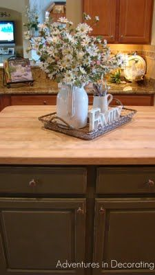 Use cream beverage dispenser from Celebrating Home. I've got a Family &/or Love sign somewhere.  Adventures in Decorating: kitchen island