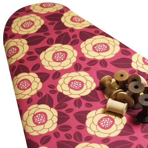 PADDED Ironing Board Cover LAST ONE Joel Dewberry Heirloom Ginseng Collection raspberry flowers fuschia yellow. $39.00, via Etsy.