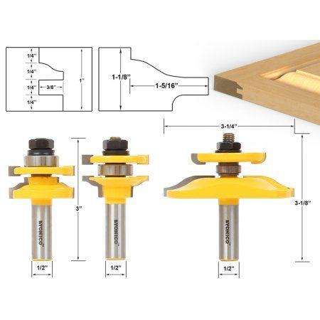 "3/"" Diameter Bevel Raised Panel Router Bit 1//2/""Shank Wood Molding Cutter"