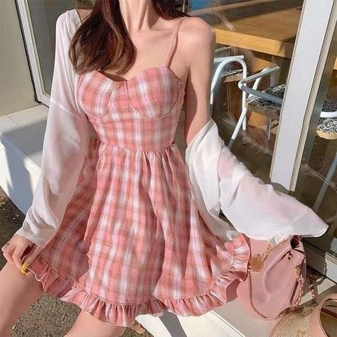 🌸pink plaid drees🌸