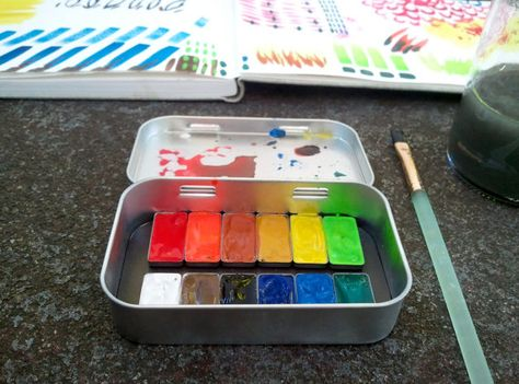 Magnetic Travel Watercolor Painting Palette By Cardboardloveaffair