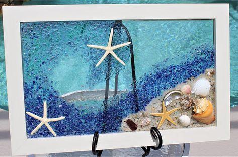 Sea Glass Art Framed Beach Art Coastal Wall Art Beach Wall Art