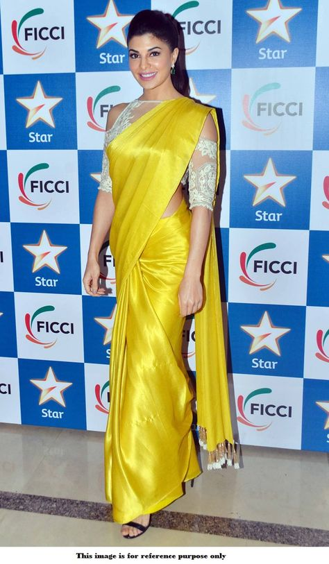 Buy Bollywood Jacqueline Fernandez yellow color crepe sareein UK, USA and Canada