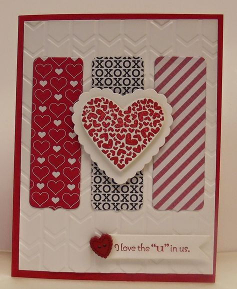 stamping sanity: P.S. I Love You - SU -  Stacked with Love dsp, retired stamp set P.S. I  Love You, Hearts a Flutter and Hearts Collection framelit dies.