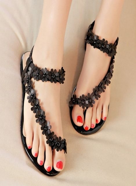 Fancy Ladies Flat Shoes With Black