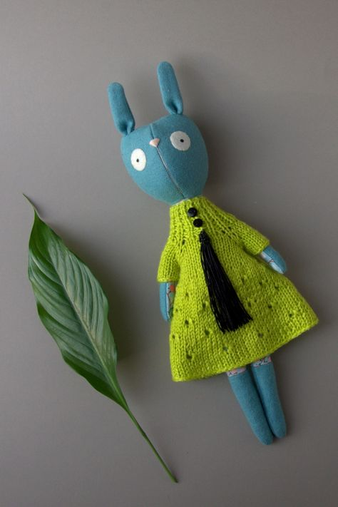 Knitted dress for toys. Chartreuse color outfit #Chartreuse #color #dress #Knitted #outfit #toys