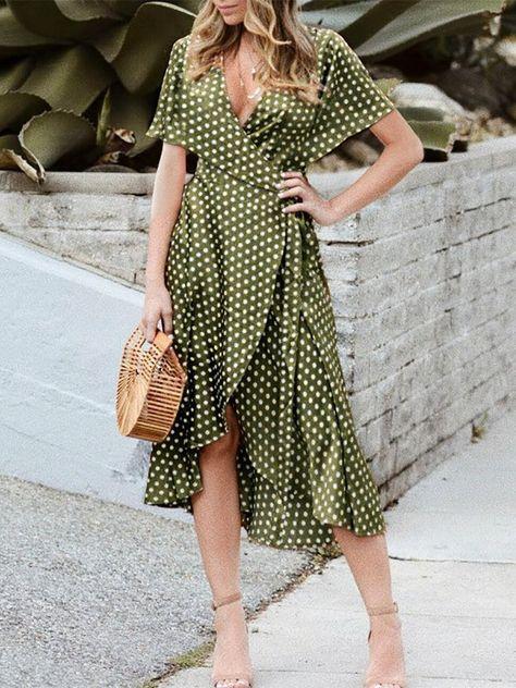 60b7fb0877c6a Fashion Ruffled Deep V Polka Dot Slit Casual Dresses – ebuytide