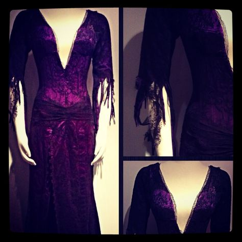 """Costume worn by Bebe Neuwirth as """"Morticia Addams"""" in the 2010 Broadway production of """"The Addams Family"""".  Designed by Phelim McDermott.  On loan from the TDF Costume Collection and on display at the Kaufman Astoria Film Studios. www.tdf.org/costumes  #costume #costumedesign #addamsfamily"""