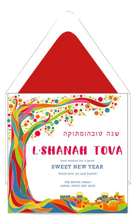 Happy Rosh Hashanah Jewish New Year Honey Apple Postcard