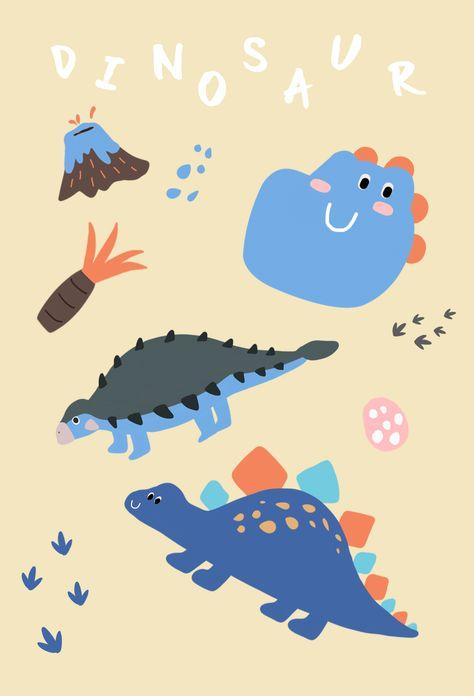 공룡 일러스트 배경화면 디자인