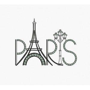 Motif De Broderie Machine Paris Tour Eiffel Lampadaire Avec
