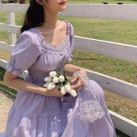 Vestidos Vintage, Vintage Dresses, Victorian Dresses, Vintage Shoes, Ropa Color Pastel, Pastel Purple, Lilac, Lavender, Light Purple