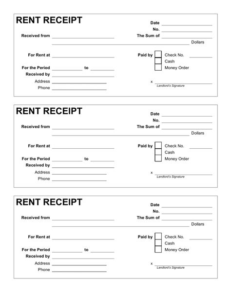 Free Rent Receipt Template Pdf Word Eforms Free Fillable