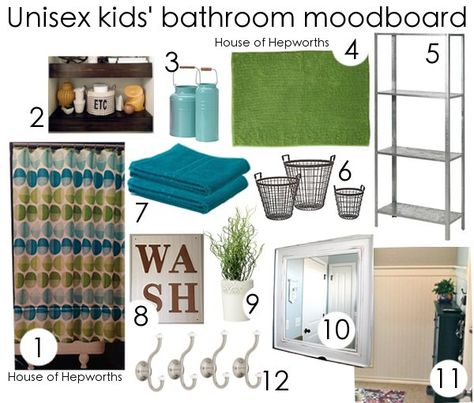 Unisex kids bathroom moodboard. Gender neutral.  Great for boys and girls that share a bathroom.