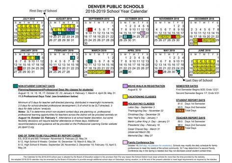 2018 19 School Calendar Approved Denver Public Schools