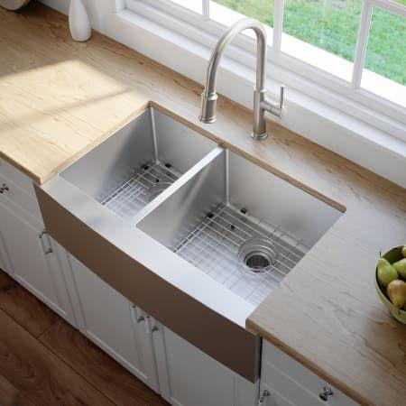 Kraus Khf204 33 Build Com Farmhouse Sink Kitchen Double Bowl Kitchen Sink Stainless Steel Farmhouse Sink
