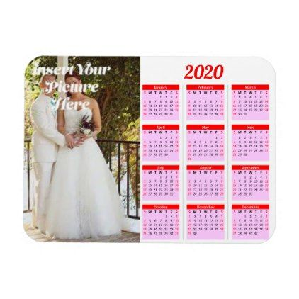 2020 Personalized Calendar 2020 Personalized Photo Red Calendar Hor Mag| Zazzle.in