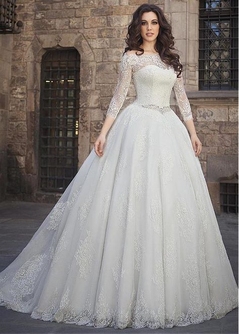 6af2134372 Charming Tulle Off-the-shoulder Neckline Ball Gown Wedding Dress With  Beadings   Lace Appliques