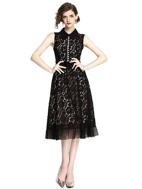 4770ba492b04 Embroidered High Waist Flare Sleeve Skater Dress