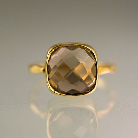 Cyber Monday Sale - Gemstone Ring - 18k Gold Vermeil Ring - Smokey Quartz Ring - Bezel Set Ring - Stackable Ring on Etsy, $59.40