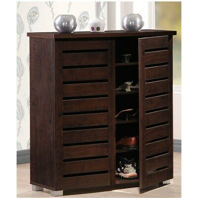 Porch Den Nurmi Dark Brown 2 Door Shoe Cabinet Brown In 2020 Wood Shoe Storage Shoe Storage Cabinet Entryway Shoe Storage