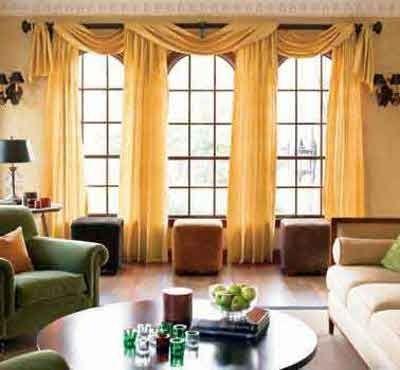 Yellow Statement Window Treatments Dining Room
