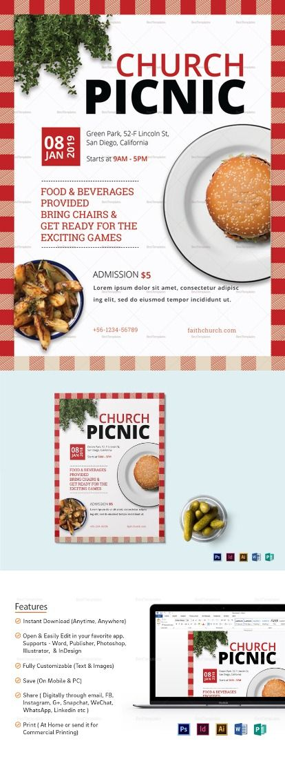 Church Picnic Flyer Template  Flyer Templates  High Quality