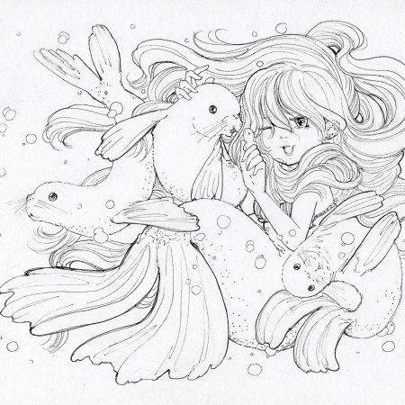 Ink Work Mermaid Coloring Book Manga Coloring Book Mermaid Coloring Pages