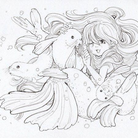 Ink Work Mermaid Coloring Pages, Mermaid Coloring Book, Manga Coloring  Book