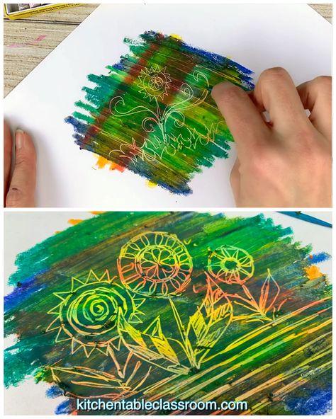 Try this oil pastel scratch process plus seven more oil pastel techniques for kids!