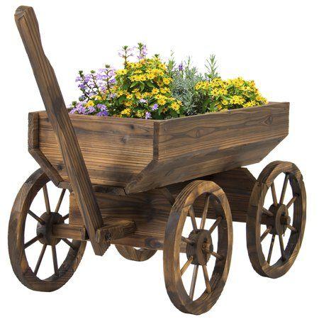 Patio Garden Wood Wagon Wagon Planter Wooden Garden Planters