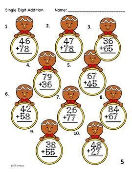 Christmas Touch Math Worksheets Double Digit Addition With Regrouping Matematik 1 Sinif Sinif