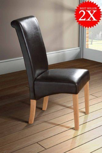 Milano Scroll Back Faux Leather Dining Room Chair Brown X2 Leather Dining Room Chairs Red Dining Chairs Dining Room Chairs