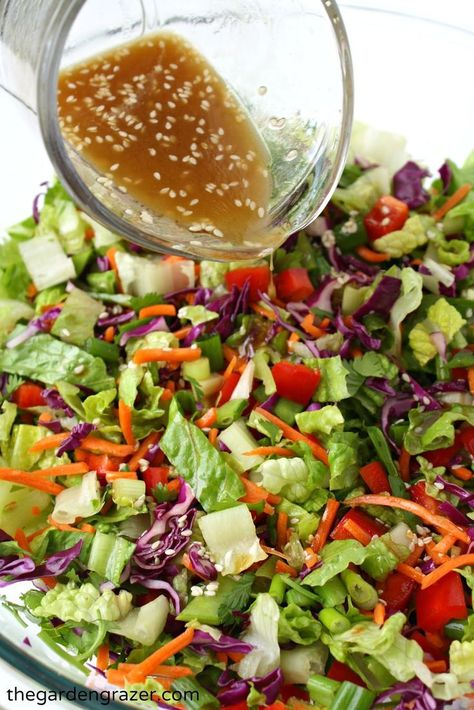 The Garden Grazer: Asian Chopped Salad with Sesame VinaigretteYou can find Salad recipes and more on our website.The Garden Grazer: Asian Chopped Salad with Sesame Vinaigrette Healthy Salad Recipes, Vegetarian Recipes, Cooking Recipes, Avocado Recipes, Vegetable Salad Recipes, Kale Recipes, Spinach Salads, Cooking Tips, Recipies