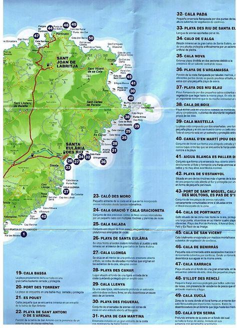 Playas De Ibiza Mapa.Todas Las Playas Y Calas De Ibiza Ibiza Calas Y Playa
