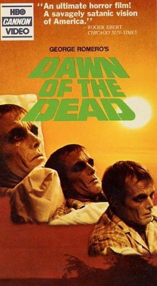 Dawn of the Dead original VHS box cover art.