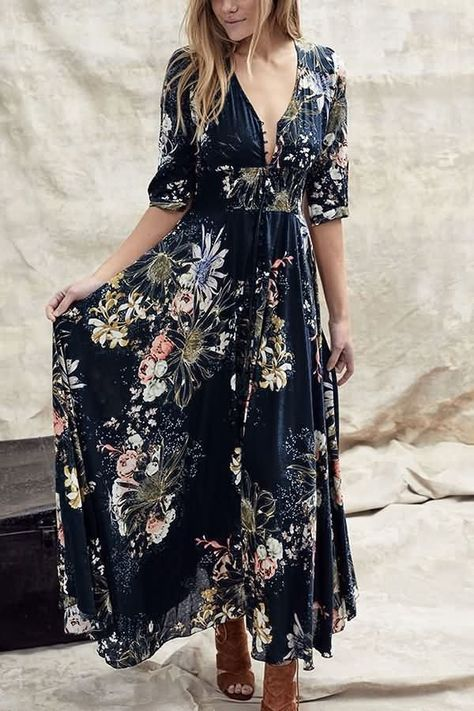 Dark-blue Floral Print V Neck Button Tied Casual Maxi Dress