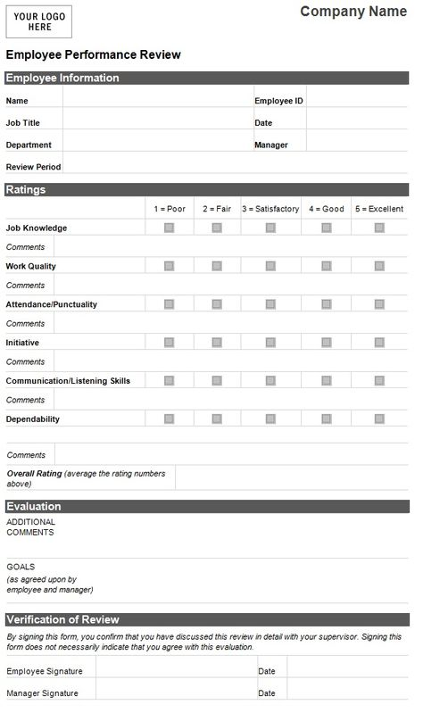 Recruitment Forms And Templates Evaluation Employee Employee Performance Review Employee Evaluation Form