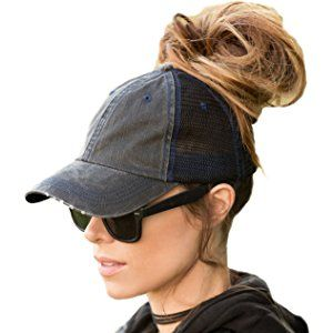 BOEKWEG Ponytail hat. Fashionable hats made for ponytails. (Distressed  Black Mesh) d97832a824e