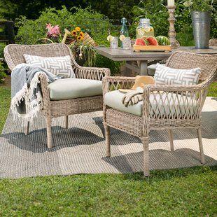 Roud Dining Table Wih Wicker Chairs Wayfair Outdoor Living Furniture Comfortable Outdoor Chairs Outdoor Wicker Chairs