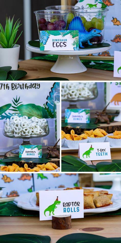 Tropical Dinosaur Party Food Cards — Merry + Grace Design Co. Dinosaur First Birthday, Fourth Birthday, 4th Birthday Parties, Birthday Party Decorations, Summer Birthday, 5th Birthday Ideas For Boys, Dinosaur Party Decorations, Birthday Gifts, Baby Shower Niño