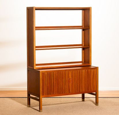 Teak Wall Unit With Tambour Doors Bookshelf By Carl Axel Acking