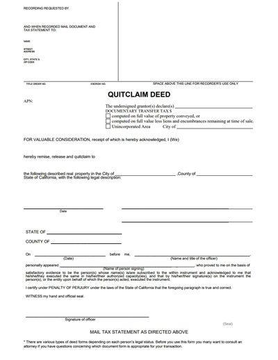 Quitclaim Deed Printable Pdf Download Template Sample