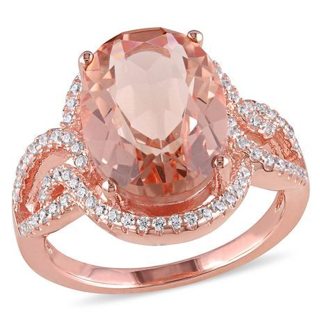 Tangelo 5.62 Carat T.G.W. Simulated Morganite And Cubic Zirconia Rose Rhodium-Plated Sterling Silver Halo Cocktail Ring Pink 5
