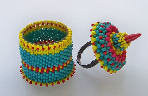 Beaded ring box open