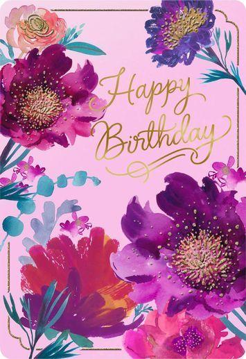 Purple Flowers Jumbo Birthday Card 16 25 Happy Birthday Birthday Card Flowers Happ Birthday Wishes Flowers Happy Birthday Floral Happy Birthday Art