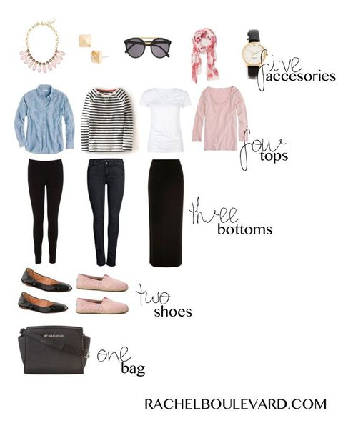 Packing Light: 5,4,3,2,1 & a GIVEAWAY. (Rachel Boulevard) #travelwardrobesummer packing light. What changes would make this capsule wardrobe work for me? I know my pink shoes should be more delicate (as should the statement necklace) and my pants are better straight. Black is too stark contrast and the stripe should be micro-. The chambray is better dark rinse, if you change one of the bottoms to a medium color.