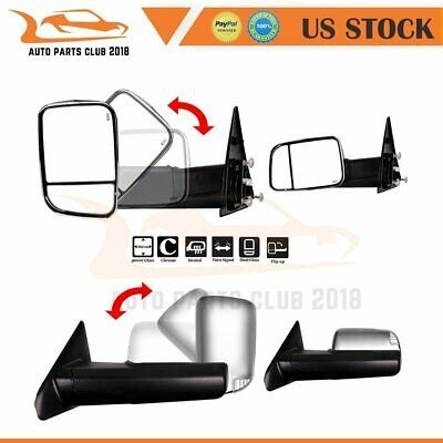 88-98 Chevy GMC C10 C//K Chrome Power Heated LED Signal Towing Side Mirrors Pair