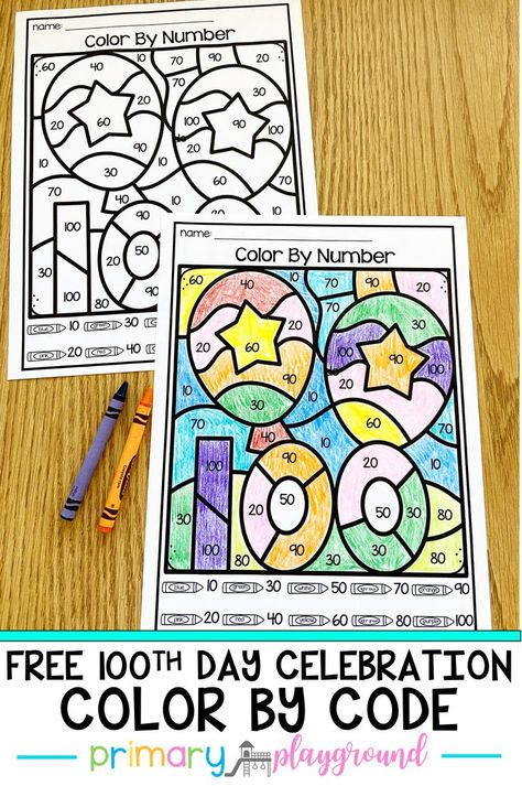 Free 100th Day Celebration Color By Code - Primary Playground